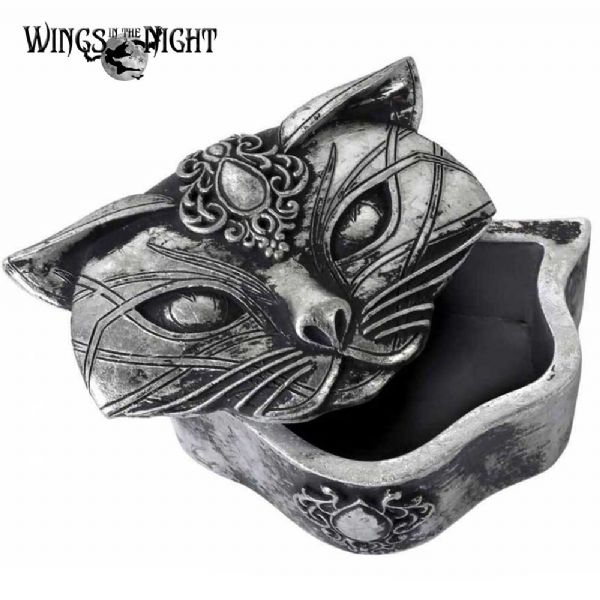 ALCHEMY GOTHIC Sacred Cat Silver Trinket Box